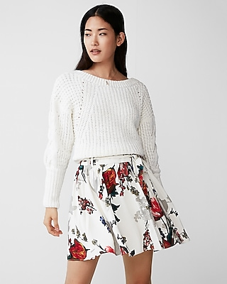 Express Womens Floral Sash Tie Mini Skirt