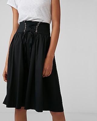 Express Womens Petite High Waisted Cotton Corset Midi Skirt