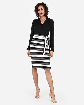 Express Womens High Waisted Multi-Stripe Side Tie Pencil Skirt