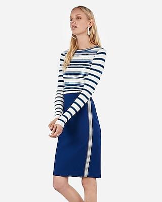 Express Womens High Waisted Side Stripe Pencil Skirt