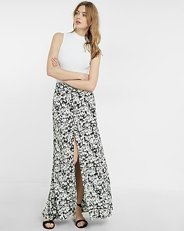 high waisted floral print button front maxi skirt