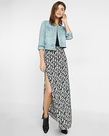 small rose print side button maxi skirt