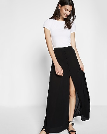 black high waisted button front maxi skirt