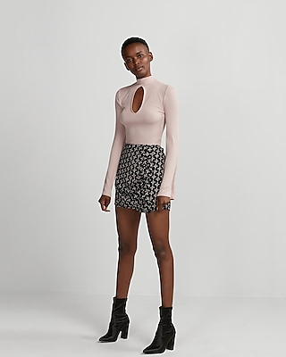 Express Womens Asymmetrical Ruffle Front Mini Skirt