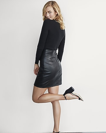 karlie kloss high waisted (minus the) leather mini skirt