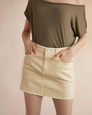 Express Womens Mid Rise Overdyed Denim Mini Skirt Yellow 00
