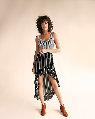 Express Womens Striped Ruffle Maxi Skirt