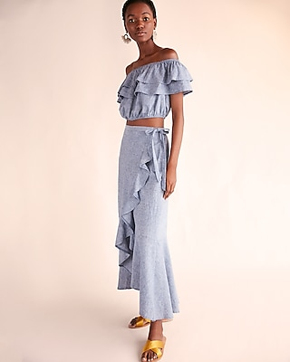 Express Womens Chambray Ruffle Wrap Maxi Skirt