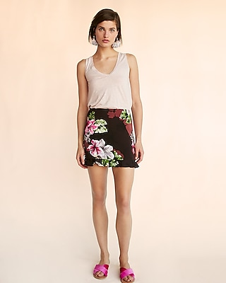 Express Womens Tropical Floral Ruffle Hem Mini Skirt