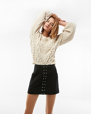 Express Womens Lace-Up Patch Pocket Mini Skirt