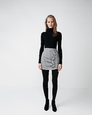 Express Womens Plaid Ruffle Mini Skirt
