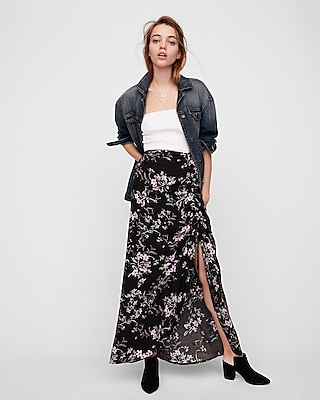 Express Womens Floral Ruched Side Maxi Skirt