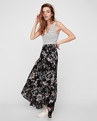 Express Womens Floral Ruffle Wrap Maxi Skirt