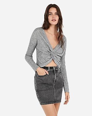 Express Womens High Waisted Vintage Black Wash Jean Mini Skirt