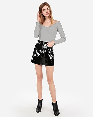 Express Womens High Waisted Vinyl Five-Pocket Mini Skirt
