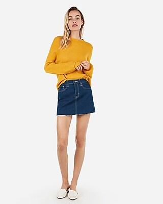 Express Womens Mid Rise Medium Wash Contrast Stitch Mini Denim Skirt Blue Women's 00 Blue 00