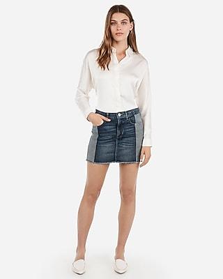 Express Womens Mid Rise Two Tone Side Stripe Denim Mini Skirt