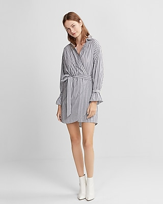 Express Womens Striped Cotton Poplin Wrap Dress