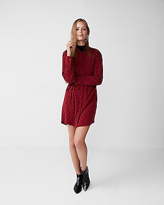 Express Womens Dotted Two-Pocket Shirt Dress