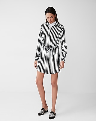 Express Womens Striped Long Sleeve Pocket Shirt Dress