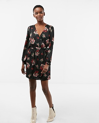 Express Womens Floral Long Sleeve Satin Wrap Dress