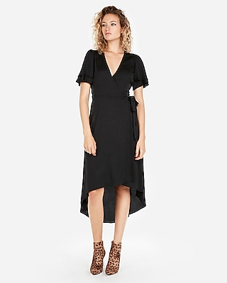 Express Womens Deep V-Neck Surplice Wrap Front Maxi Dress