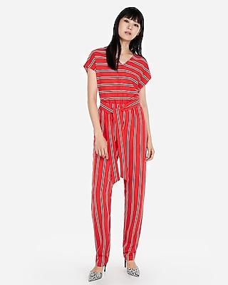 Express Womens Stripe V-Neck Short Sleeve Jumpsuit