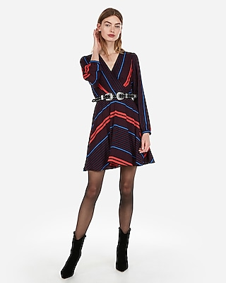 Express Womens Striped Surplice Fit And Flare Dress