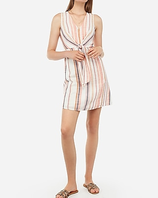 Express Womens Striped Front Tie Fit And Flare Mini Dress