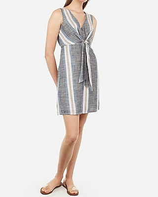 Express Womens Multi-Striped Front Tie Fit And Flare Mini Dress