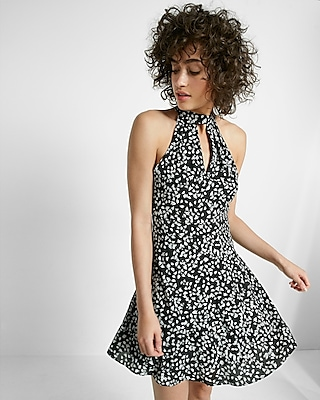 Express Womens Floral Print Mock Neck Keyhole Fit And Flare Dress