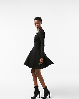 Express Womens Crisscross Neck Puff Shoulder Fit And Flare Dress