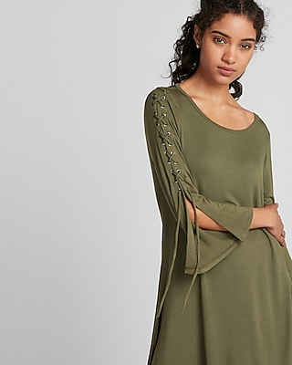 Express Womens Lace-Up Bell Sleeve Trapeze Dress Green Women's Xs Green Xs