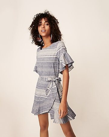Express View Striped Short Flutter Sleeve Wrap Dress
