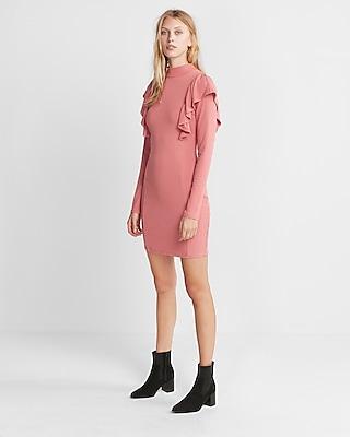 Express Womens Ruffle Front Ribbed Sheath Dress Pink Small 12487080