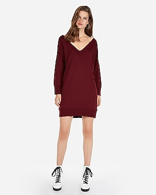 Express Womens Double V Strappy Back Sweatshirt Dress