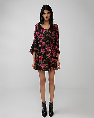 Express Womens Floral Bell Sleeve Wrap Dress