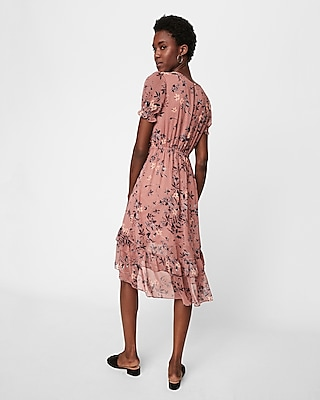 Express Womens Petite Floral Print Ruffle Midi Dress