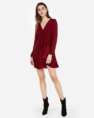 Express Womens Knotted V-Neck Dress Red Women's Xs Red XS