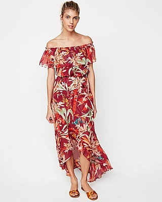 Express Womens Express Womens Petite Floral Off The Shoulder Fit And Flare Maxi Dress