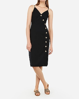 Express Womens Asymmetrical Button Front Midi Dress Black Women's L Black L