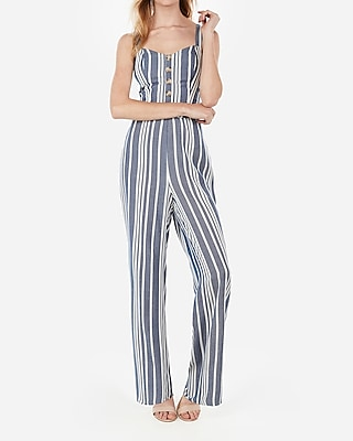 Express Womens Striped Button Front Cut-Out Tie Back Jumpsuit