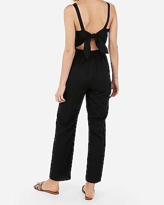 Express Womens Button Front Cut-Out Tie Back Jumpsuit Black Women's Xxs Black Xxs