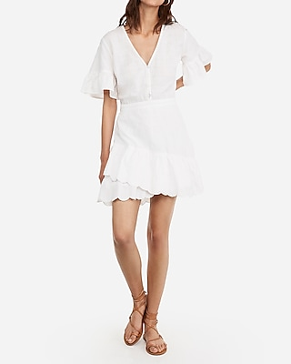 Express Womens Eyelet Lace Flutter Sleeve Dress