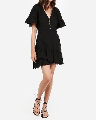 Express Womens Eyelet Lace Flutter Sleeve Dress Black Women's Xxs Black Xxs