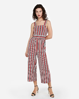 Express Womens Stripe Square Neck Jumpsuit