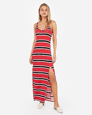 Express Womens Striped Knotted Strap Maxi Dress