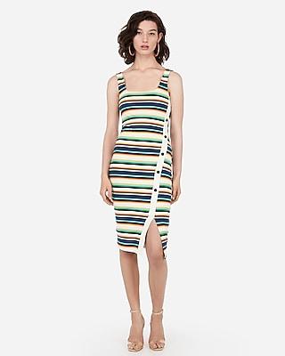 Express Womens Striped Asymmetrical Button Front Midi Bodycon Dress
