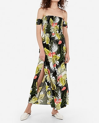 Express Womens Express Womens Printed Off The Shoulder Smocked Bodice Back Cut-Out Maxi Dress