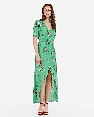 Express Womens Floral Ruffle Surplice Wrap Hi-Lo Maxi Dress